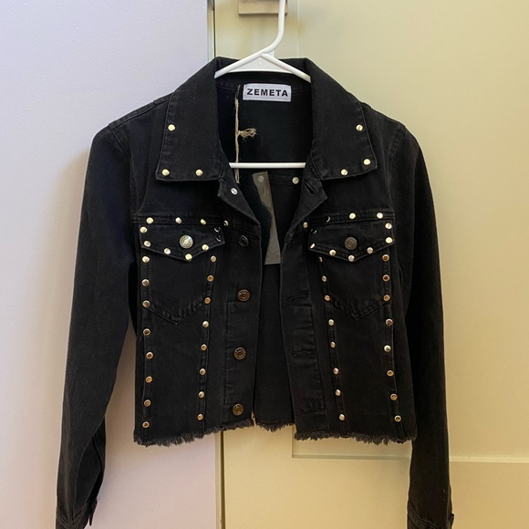 Dolls Kill Jackets & Blazers - Cropped black denim jacket
